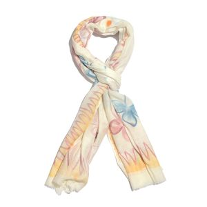 Multi Color 100% Fine Wool Hand Tie Dye Scarf (28x80 in)