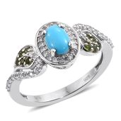 Arizona Sleeping Beauty Turquoise, Russian Diopside, Cambodian Zircon Platinum Over Sterling Silver Ring (Size 6.0) TGW 1.22 cts.