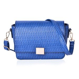 Blue Embossed Faux Leather Flap Over Crossbody Bag (10x8x6 in)