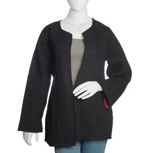 Black and Maroon 100% Cotton Reversible Quilted Jacket (M/L)