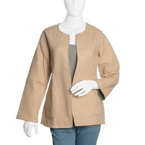 Camel and Olive 100% Cotton Reversible Quilted Jacket (M/L)