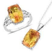 Sphaleros Quartz Platinum Over Sterling Silver Ring (Size 8) and Pendant With Chain (20 in) TGW 14.35 cts.