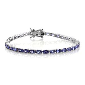 Tanzanite Platinum Over Sterling Silver Bracelet (7.50 In) TGW 9.00 cts.