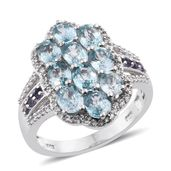 Cambodian Blue Zircon, Catalina Iolite, Cambodian Zircon Platinum Over Sterling Silver Cluster Ring (Size 7.0) TGW 6.64 cts.