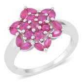 Niassa Ruby Sterling Silver Flower Ring (Size 7.0) TGW 2.63 cts.