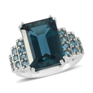 TLV London Blue Topaz Sterling Silver Ring (Size 6.0) TGW 9.87 cts.