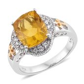 Canary Fluorite, Cambodian Zircon 14K YG and Platinum Over Sterling Silver Ring (Size 11.0) TGW 6.89 cts.