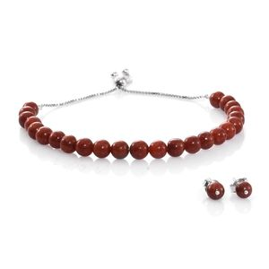 One Day TLV Burmese Red Jade Sterling Silver Stud Earrings and Magic Ball Bracelet (Adjustable) TGW 43.00 cts.