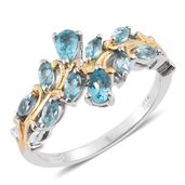 Madagascar Paraiba Apatite 14K YG and Platinum Over Sterling Silver Leaf Ring (Size 5.0) TGW 1.23 cts.