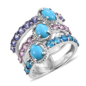 Arizona Sleeping Beauty Turquoise, Multi Gemstone Platinum Over Sterling Silver Elongated Layer Ring (Size 6.0) TGW 5.31 cts.