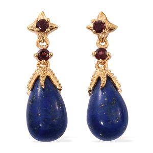 GP Lapis Lazuli, Orissa Rhodolite Garnet 14K YG Over Sterling Silver Earrings TGW 12.14 cts.