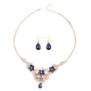 Blue Glass, White Austrian Crystal, Simulated Cats Eye Goldtone & Stainless Steel Earrings and Necklace (21 in) TGW 72.00 cts.