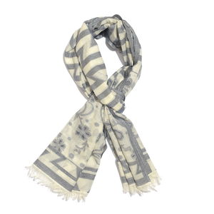 Cream and Blue 100% Cotton Floral Geometric Jacquard Scarf (74x30 in)