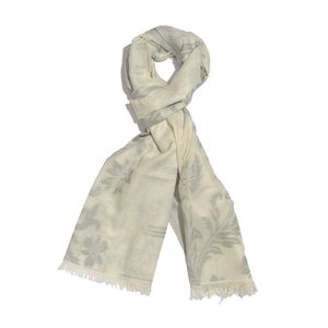 Slate Gray 100% Cotton Jacquard Floral Scroll Pattern Scarf (76x30 in)