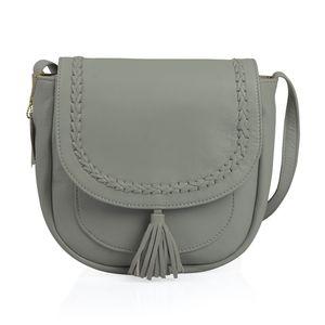 Mint Green Genuine Leather RFID Tassel Saddle Sling Bag (9x8.5x3.5 in)