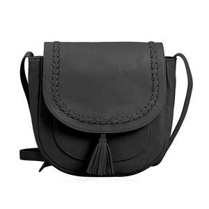 Black Genuine Leather RFID Tassel Saddle Sling Bag (9x8.5x3.5 in)