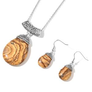 Picture Jasper Black Oxidized Silvertone & Stainless Steel Earrings and Pendant With Chain (24 in) TGW 99.00 cts.