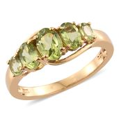 Hebei Peridot 14K YG Over Sterling Silver 5 Stone Ring (Size 7.0) TGW 2.18 cts.