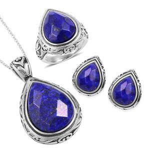 Lapis Lazuli Black Oxidized Stainless Steel Earrings, Ring (Size 8) and Pendant With Chain (20 in) TGW 44.40 cts.