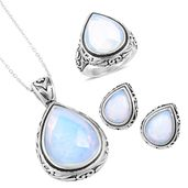 Opalite Black Oxidized Stainless Steel Earrings, Ring (Size 8) and Pendant With Chain (20 in) TGW 34.65 cts.