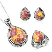 Kennedy Range Mookaite Black Oxidized Stainless Steel Earrings, Ring (Size 9) and Pendant With Chain (20 in) TGW 36.30 cts.