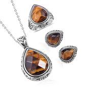 South African Tigers Eye Black Oxidized Stainless Steel Earrings, Ring (Size 8) and Pendant With Chain (20 in) TGW 38.00 cts.