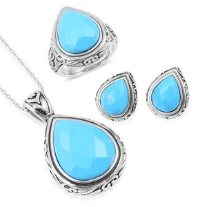 Blue Howlite Black Oxidized Stainless Steel Earrings, Ring (Size 10) and Pendant With Chain (20 in) TGW 32.00 cts.