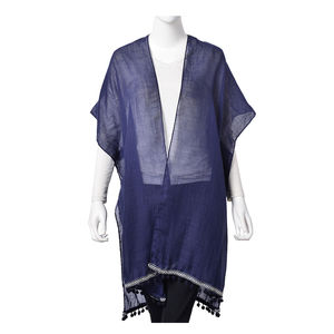 Navy 20% Viscose and 80% Polyester Flower Lace Kimono (35.44x32.29 in)