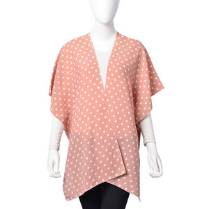 Pink with White Dot Pattern 100% Polyester Kimono (28.35x36.22 in)