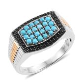 Arizona Sleeping Beauty Turquoise, Thai Black Spinel 14K YG and Platinum Over Sterling Silver Men's Ring (Size 12.0) TGW 1.53 cts.