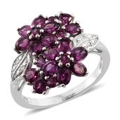 Purple Garnet, Cambodian Zircon Platinum Over Sterling Silver Floral Ring (Size 5.0) TGW 3.96 cts.