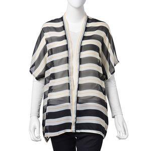 Black and White 100% Polyester Stripe Pattern Kimono (27.56x29.93 in)