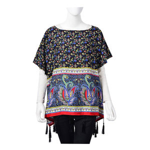 Black 100% Viscose Floral Paisley Pattern Scoop Neck Poncho with Tassels (One Size)