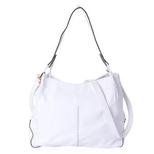 White Faux Leather Tote Bag (15.6x5.4x12.4 in) with Handle Drop & Removable Shoulder Strap