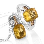 Canary Fluorite, Brazilian Citrine Platinum Over Sterling Silver Ring (Size 7) and Pendant With Chain (20 in) TGW 14.30 cts.