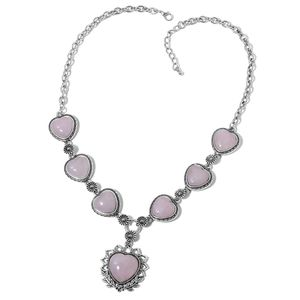 Galilea Rose Quartz Silvertone & Iron Necklace (22 in) TGW 200.00 cts.