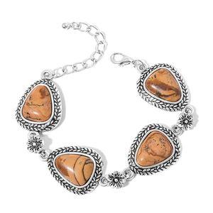 Picture Jasper Silvertone Floral Bracelet (7.50-9.50In) TGW 50.00 cts.