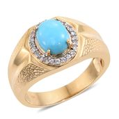 Arizona Sleeping Beauty Turquoise, Cambodian Zircon 14K YG Over Sterling Silver Men's Signet Ring (Size 10.0) TGW 2.58 cts.