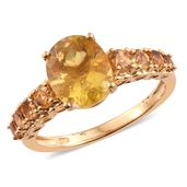 Canary Fluorite, Brazilian Citrine 14K YG Over Sterling Silver Ring (Size 8.0) TGW 5.24 cts.