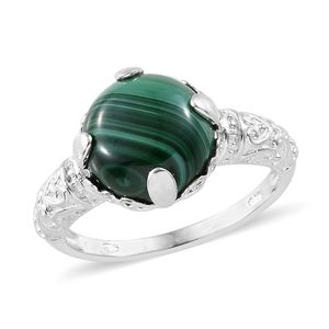 Malachite Sterling Silver Solitaire Ring (Size 9.0) TGW 8.50 cts.
