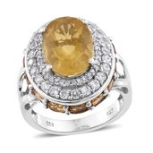 Canary Fluorite, Brazilian Citrine, Cambodian Zircon Platinum Over Sterling Silver Ring (Size 7.0) TGW 10.21 cts.