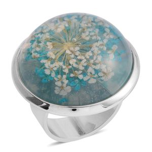Silvertone Pressed Flower Ring (Adjustable)