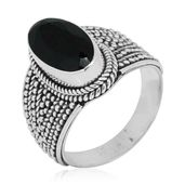 Bali Legacy Collection Thai Black Spinel Sterling Silver Ring (Size 8.0) TGW 6.30 cts.