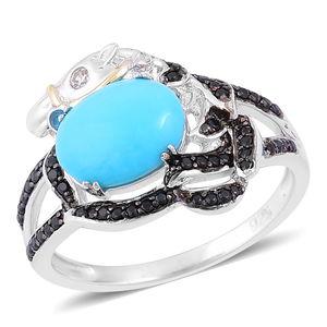 Arizona Sleeping Beauty Turquoise, Multi Gemstone Black Rhodium, 14K YG Over and Sterling Silver Ring (Size 7.0) TGW 2.14 cts.