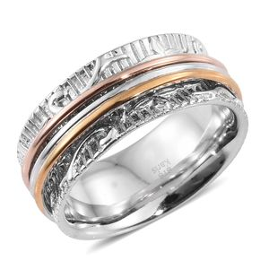 KARIS Collection - ION Plated 18K YRG and Platinum Bond Brass Spinner Ring (Size 7.0)