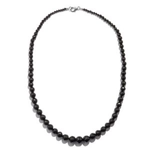 One Time Only Thai Black Spinel Beads Sterling Silver Necklace (18 in) TGW 175.00 cts.