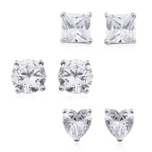 Doorbuster Simulated Diamond Sterling Silver Set of 3 Stud Earrings TGW 5.60 cts.