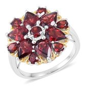 Mozambique Garnet 14K YG Over Sterling Silver Flower Ring (Size 8.0) TGW 6.52 cts.