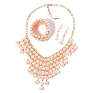 Simulated Peach Pearl, Pink Glass Goldtone & Stainless Steel Bracelet (Stretchable), Earrings and Bib Necklace (20.00 In)