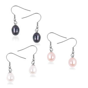 Freshwater Pearl - Multi Color Stainless Steel Set of 3 Drop Earrings